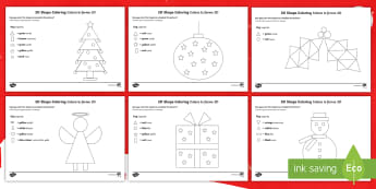 Christmas Colour by 2D Shape Activity Sheet English/Italian  - Christmas, colouring, maths, 2d, shapes, shape space measure, eyfs, activities, activity sheet, work