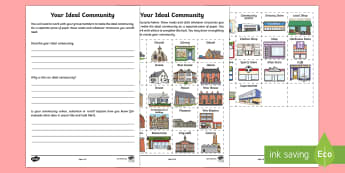 Your Ideal Community Differentiated Activity Sheets - Uniquely Canadian, mapping, math, spatial sense, communities, social studies, reading, writing, draw