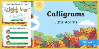 Little Acorns Calligrams PowerPoint - KS1, Literacy, English, Writing, word activities, illustrated words, words as images, ppt