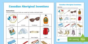 Canadian Aboriginal Inventions Activity - Canadian First Nations, Aboriginal, Metis, Inuit, Canadian inventions, métis