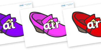 Phase 3 Phonemes on Shoes - Phonemes, phoneme, Phase 3, Phase three, Foundation, Literacy, Letters and Sounds, DfES, display