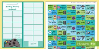 KS2 Video Games Themed Reading Sticker Reward Bookmarks - Y5, UKS2, Home Readers, Reading Log, Stickers, Motivation
