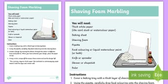 Shaving Foam Marbling Craft Instructions - shave, cream, marbling, exciting, colourful, design, investigation, colour, pattern