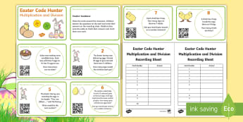Easter Maths: Multiplication and Division Code Hunter - KS1, Key Stage One, Maths, Numeracy, Multiplication, Division, Dividing, Multiplying, Sharing, Times
