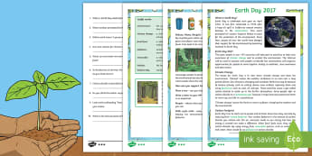 Earth Day Differentiated Reading Comprehension Activity - KS2 Earth Day (April 22nd), reading, comprehension, information, environment, climate change, trees,
