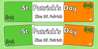 St Patrick's Day Display Banner Romanian Translation - romanian, St Patricks Day, display banner, poster, display, Ireland, Irish, St Patrick, patron saint, leprechaun, 17 march