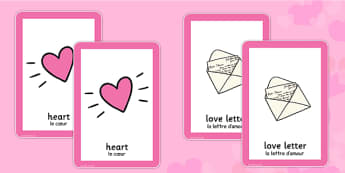 Valentine's Day Pairs Matching Game French Translation - french, valentines, day, pairs