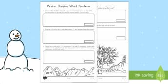 Winter Word Problems Division Activity - Winter, word problems, division, division word problems