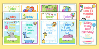 Baby's Age Photo Prop Cards - babies, growth, growing, parents, old, months, milestones, birthday