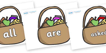 Tricky Words on Baskets - Tricky words, DfES Letters and Sounds, Letters and sounds, display, words