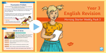 Year 3 English Revision Morning Starter Weekly PowerPoint Pack 3 - KS2 English Assessment Materials, KS2, assess, review, moderate, track, english, literacy, reading,