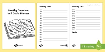 Bullet Journal Monthy Overview and Goals Planner - Bullet Journal, bujo, diary, journal, borders, colouring, doodles