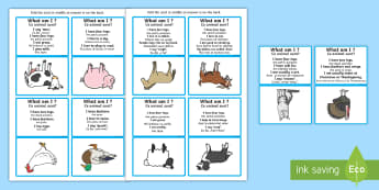 What Am I? Farm Animals Can You Guess? Cards English/Romanian - Inferences, drawing inferences, receptive language, ASD, autism, eal