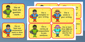 VCOP Superhero Challenge Cards - VCOP, superhero challenge, challenge, writing challenges, challenge cards, cards, flashcards, writing activities, literacy, KS2