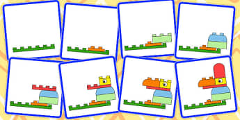 8 Step Sequencing Cards Making a Bird from Blocks - sequencing