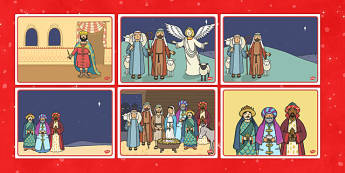 The Christmas Story Sequencing - Nativity, Christmas Story, sequencing, xmas, Visual Aids, Mary, Joseph, Jesus, shepherd, wise men, Herod, angel, donkey, stable, Gabriel, First Christmas,Inn, Star, God