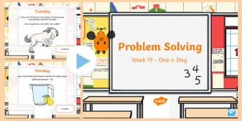 Week 19 - Problem Solving - One a day PowerPoint - Word Problems, Addition, Subtraction, Rude, Solving