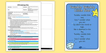 Twinkle, Twinkle Little Star Parachute Activity EYFS Adult Input Plan and Resource - rhyme, PE, physical education, parachute games