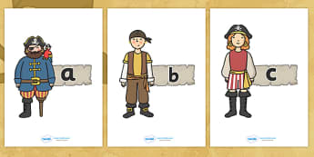 A-Z Alphabet on Pirates - Pirate, Alphabet frieze, Display letters, Letter posters, A-Z letters, Alphabet flashcards,  pirate, pirates, treasure, ship, jolly roger, ship, island, ocean