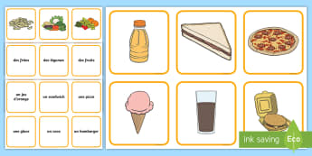 Different Foods Snap Card Game French - French Games, french food, french cafe, french drinks, french snap, french pair games., Scottish