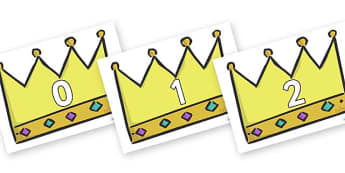 Numbers 0-100 on Crowns (Plain) - 0-100, foundation stage numeracy, Number recognition, Number flashcards, counting, number frieze, Display numbers, number posters
