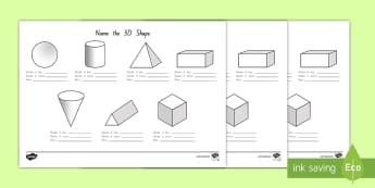 Name the 3D Shape Activity Sheet - New Zealand Maths Resource Moving, nz, maths, geometry, 3 dimensional, properties, Worksheet