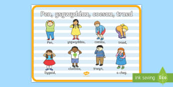 Heads, Shoulders, Knees and Toes Display Poster Welsh - Welsh Second Language Display Resources, Welsh Display, Welsh,Welsh
