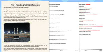 Hajj Differentiated Reading Comprehension Activity - RE, worksheet, activity, differentiated, islam, muslim