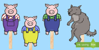 The 3 Little Pigs Stick Puppets - 3 little pigs, stick puppets, traditional tales, tale, fairy tale, pigs, wolf, straw house, wood house, brick house, huff and puff, chinny chin chin
