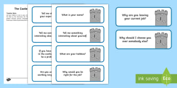 KS1 Castle Job Interview Activity - Career, Motivation, Ambition, Interview, Questions, Answers