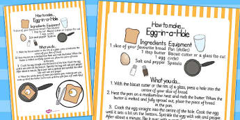 Egg in a Hole Recipe Sheet - egg, hole, recipe, sheet, cooking