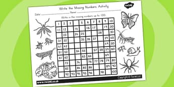 Minibeasts Missing Numbers Number Squares - counting aid, count
