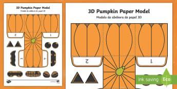 Simple Make Your Own 3D Pumpkin Halloween Paper Craft English/Portuguese - pumpkin, halloween, models, halloween activities, eal, craft