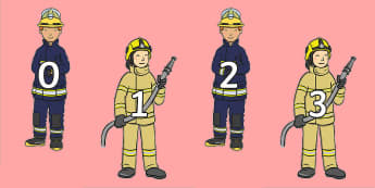 Numbers 0 to 100 on Firefighters - Firefighters, fireman, people who help us, 0-100, display, counting
