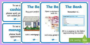 Bank Role Play Posters - Bank Role Play, banking, bank resources, money, euros, pounds, cheque book, till, cash, bank manager, cash mashine, role play, display, poster