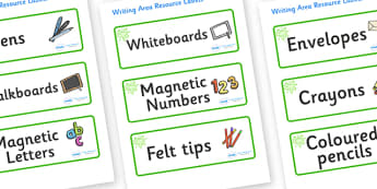 Green Themed Editable Writing Area Resource Labels - Themed writing resource labels, literacy area labels, writing area resources, Label template, Resource Label, Name Labels, Editable Labels, Drawer Labels, KS1 Labels, Foundation Labels, Foundation
