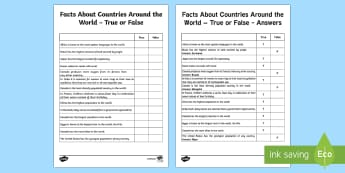 True or False Facts About the World Activity Sheet - Canadian Multiculturalism Day Resources, countries, facts, worksheet
