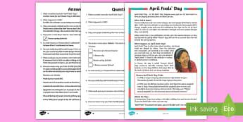April Fools' Day KS2 Differentiated Reading Comprehension Activity - April Fool's Day, April fool, april fools' day, 1st april, april 1st, first april, april, fool, fo