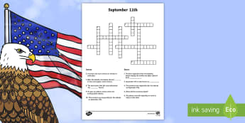September 11th Crossword - Patriot Day, September 11th, World Trade Center, crossword, vocabulary, writing, People, Ideas and E