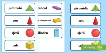 Forme 3D Cartonașe cu cuvinte - geometrie, bidimensionale, tridimensionale, română, materiale, activități,Romanian