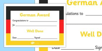 German Award Certificate - German Award Certificate, German, language, Germany, certificates, award, well done, reward, medal, rewards, school, general, certificate, achievement, foreign, skills, language skills