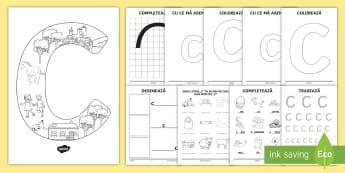 Consolidarea literei C Broșură - alfabetul, alfabetar, litere, sunete, grafisme,Romanian