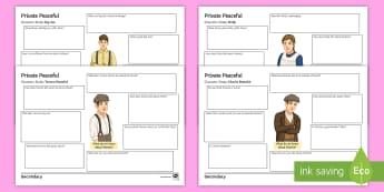 Character Study Activity Pack to Support Teaching on 'Private Peaceful' by Michael Morpurgo - Characters, Private peaceful, molly, tommo, charlie, big Joe, KS3 literature