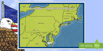 September 11th Attack Locations Map - Patriot Day, September 11th, World Trade Center, attacks, location, map