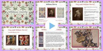 Pŵerpwynt William Morris - Celf, William Morris, Oes Fictoraidd, Thema, arlunio, artist, cynllunio, techneg, arddull, CA2, Cymr