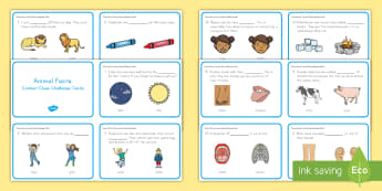 Animal Facts: Context Clues Challenge Cards - logic, reading, sentences, pictures, meaning, sense