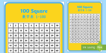 100 Number Square English/Mandarin Chinese - Number square, hundred square, Counting, Numbers 0-100, 100s gird, 100s chart, 100s board, numeracy,