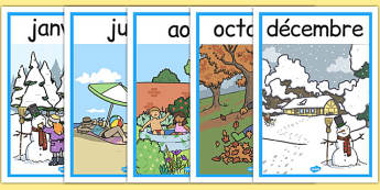 Months of the Year Seasons Posters French - french, months, year, seasons, posters, display, months of the year