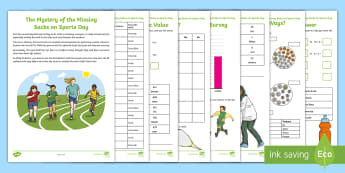 LKS2 The Mystery of the Missing Sacks on Sports Day Maths Game - problem solving, calculations, clues, measures, money