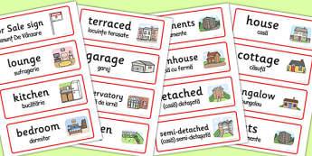 Estate Agents Word Labels Romanian Translation - arabic, estate agents